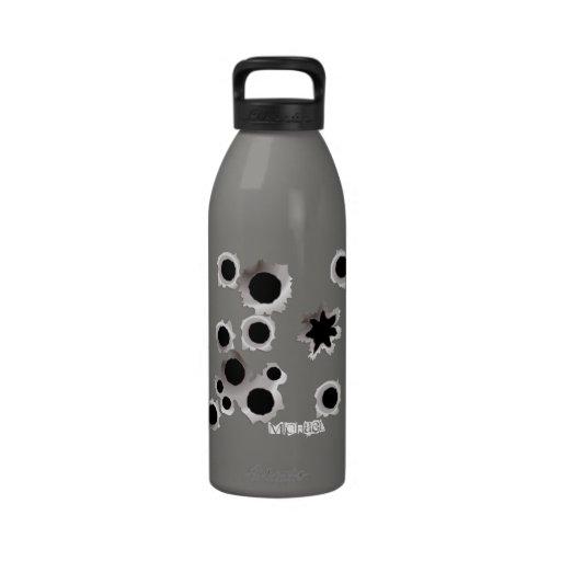 Gun Shots Holes Funny Water Bottle