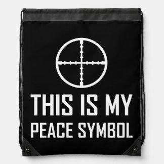 Gun Site My Peace Symbol Drawstring Backpack