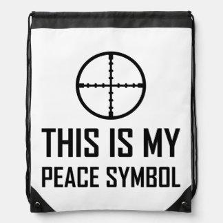 Gun Site My Peace Symbol Drawstring Bag