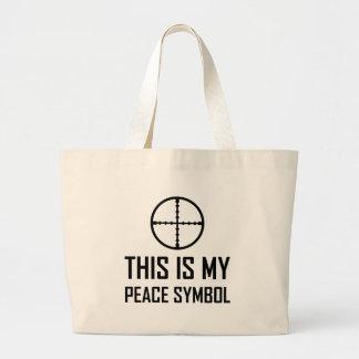 Gun Site My Peace Symbol Large Tote Bag