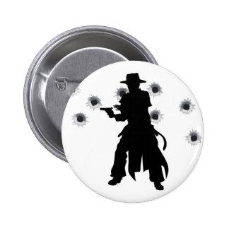 Gun slinger western shoot-out 2 inch round button