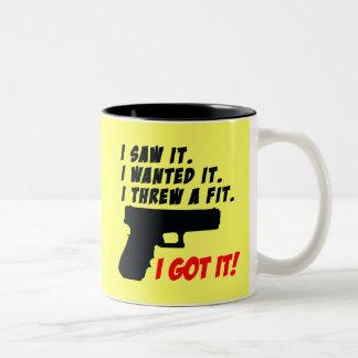 Gun Temper Tantrum Two-Tone Coffee Mug