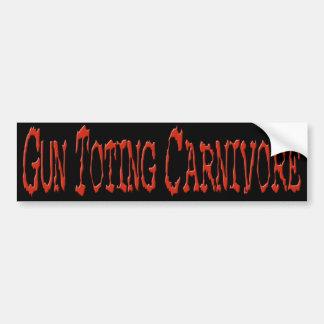 Gun Toting Carnivore Bumper Sticker Red