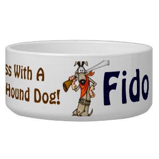 Gun Toting Hound Dog Customized Dog Bowls