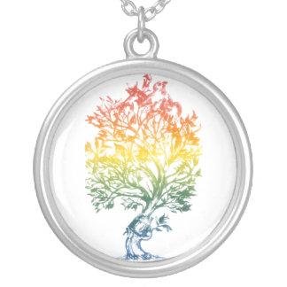 Gun-Tree-Image Round Pendant Necklace