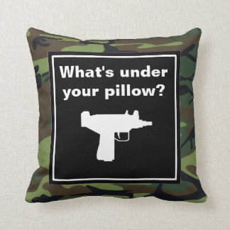 Gun With Camouflage Pattern Throw Pillow