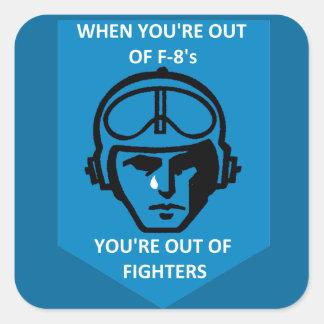 Gunfighter pasado F-8 Pegatina Cuadrada