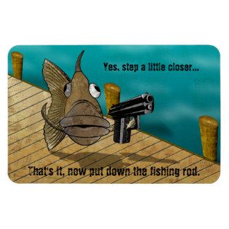 GunFish on Dock Rectangular Photo Magnet
