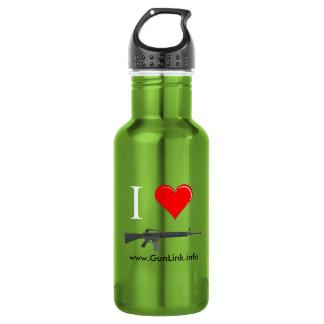 GunLink I Love AR15 Rifles (heart) Canteen Stainless Steel Water Bottle