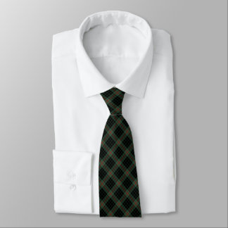 Gunn Clan Tartan Dark Green and Black Plaid Neck Tie