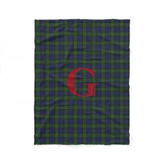 Gunn Clan Tartan Plaid Monogram Fleece Blanket