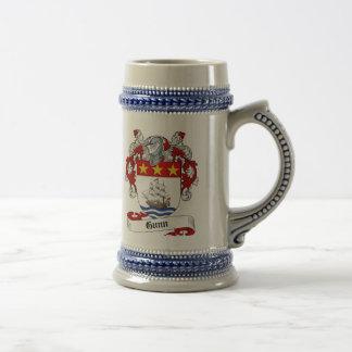 Gunn Coat of Arms Stein - Family Crest 18 Oz Beer Stein