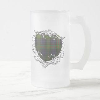 Gunn Tartan Heart Frosted Glass Beer Mug