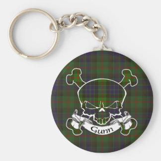 Gunn Tartan Skull Keyring Basic Round Button Keychain