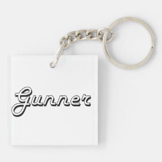 Gunner Classic Retro Name Design Double-Sided Square Acrylic Keychain