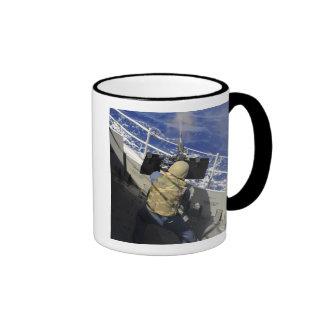 Gunners Mate firing a 50 caliber machine gun Coffee Mugs