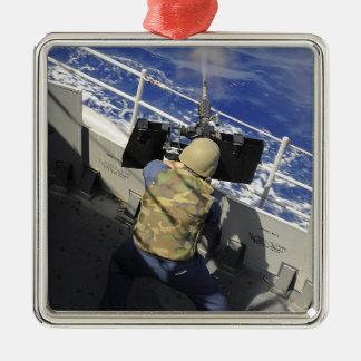 Gunners Mate firing a 50 caliber machine gun Ornament