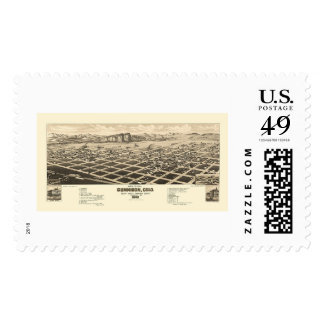 Gunnison, CO Panoramic Map - 1882 Postage Stamp