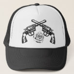 """guns and roses trucker hat<br><div class=""""desc"""">just a couple of guns and a rose</div>"""