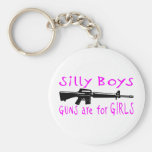 GUNS ARE FOR GIRLS BASIC ROUND BUTTON KEYCHAIN
