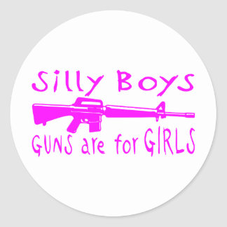 GUNS ARE FOR GIRLS CLASSIC ROUND STICKER