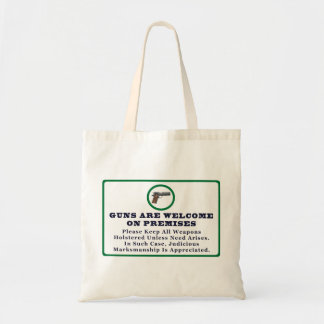 Guns Are Welcome On Premises Sign Canvas Bags