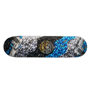 Guns, Bullets, and Camouflauge (blue) Skateboard