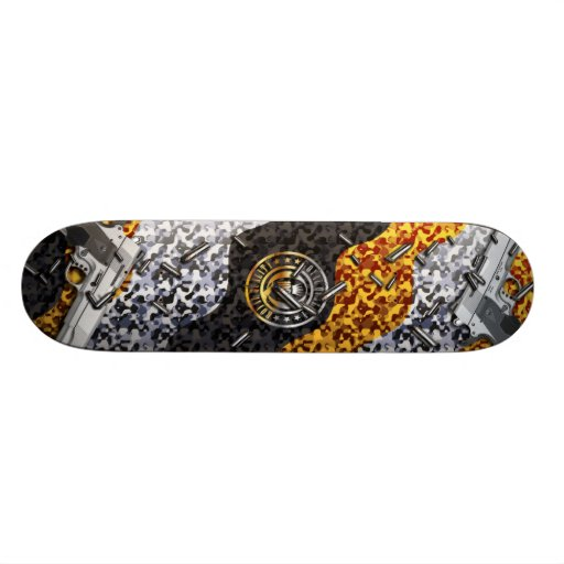 Guns, Bullets, and Camouflauge (gold) Skate Board