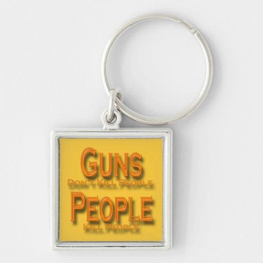 Guns Don't Kill People Kill People orange Keychain