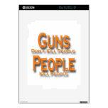 Guns Don't Kill People Kill People orange iPad 2 Decal