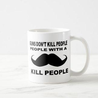 GUNS DONT KILL PEOPLE MUSTACHE COFFEE MUG