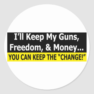 Guns, Freedom, and Money Classic Round Sticker