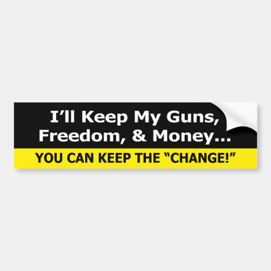 Guns freedom and money zazzle bumper sticker siz