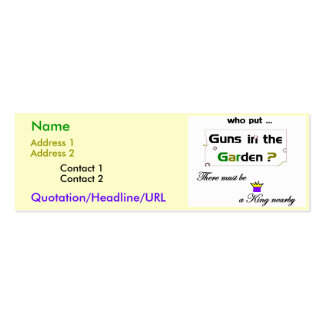 Guns in the Garden Double-Sided Mini Business Cards (Pack Of 20)