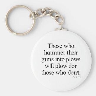 Guns Into Plows Basic Round Button Keychain