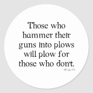 Guns Into Plows Classic Round Sticker