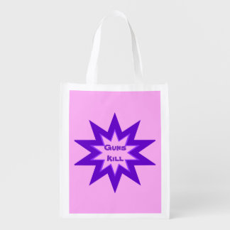 Guns Kill Purple and Pink Reusable Grocery Bag