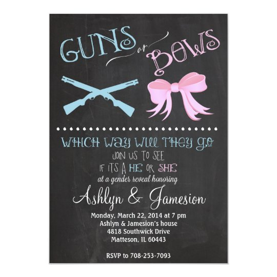 Guns or Bows Gender Reveal Party Invitation Zazzlecom