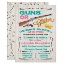 Guns or Glitter Gender Reveal Baby Shower Invitation