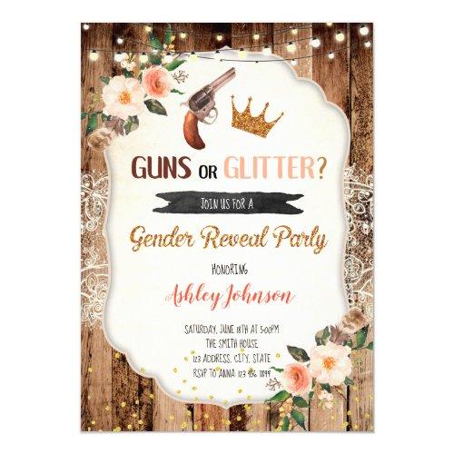 Guns or Glitter gender reveal card invitation