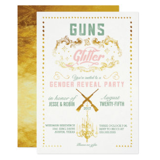 Guns or Glitter Gender Reveal Party Invitation