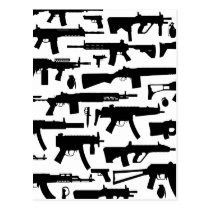 Guns pattern postcard