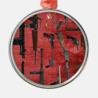 GUNS ROUND METAL CHRISTMAS ORNAMENT