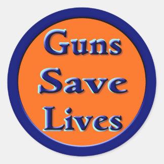 Guns Save Lives Round Stickers