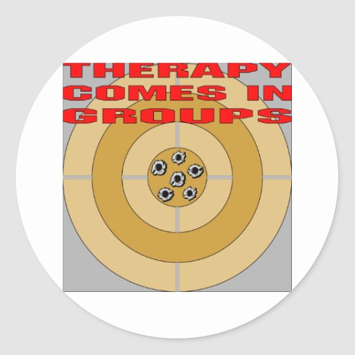 Guns; Therapy Comes In Groups Classic Round Sticker