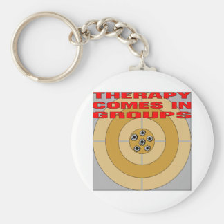 Guns; Therapy Comes In Groups Keychain