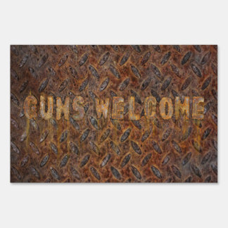 Guns Welcome Lawn Sign
