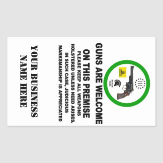 GUNS WELCOME RECTANGULAR STICKER