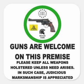 GUNS WELCOME SQUARE STICKER