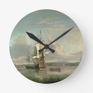 Gunship on the Thames off Woolwich Round Wall Clocks